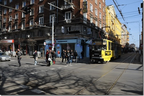 Tram on a street in Sofia, Bulgaria