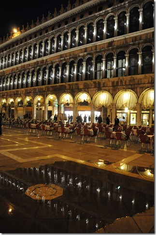 Flooding starting in Piazza San Marco during the Acqua Alta (High Water) in Venice, Italy