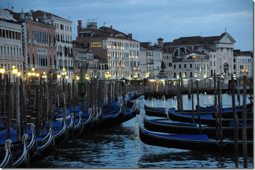 Gondolas near Piazza San Marco in the early morning in Venice, Italy