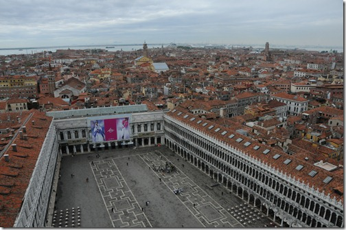 Piazza San Marco (St. Mark's Square) as viewed from the Campanile di San Marco (St. Mark's bell tower) in Venice, Italy