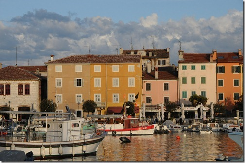 Colorful buildings along the harbor in Rovinj, Istria, Croatia