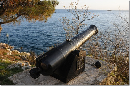 Cannon overlooking the Adriatic sea in Rovinj, Istria, Croatia