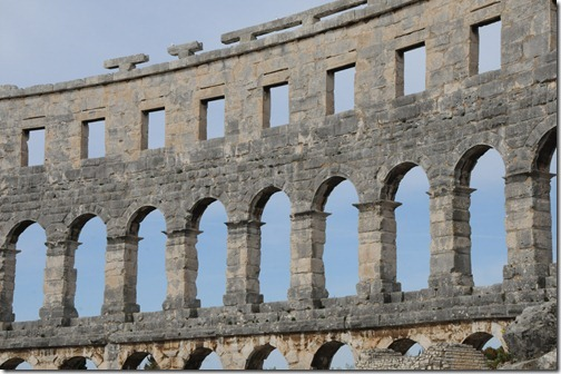 Intact outer walls of the Pula Arena, an ancient Roman amphitheater in Istria, Croatia