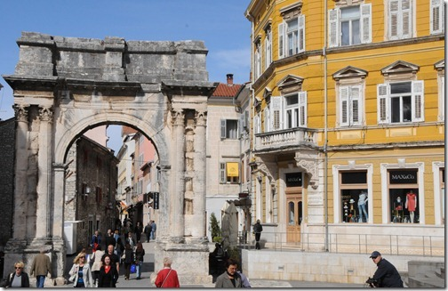 Arch of the Sergii - Roman triumphal arch in Pula, Istria, Croatia