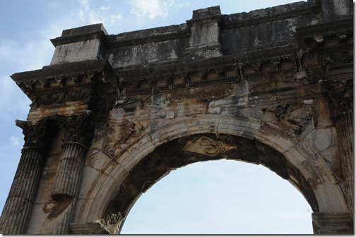 Close-up detail on the Arch of the Sergii, a Roman triumphal arch in Pula, Istria, Croatia