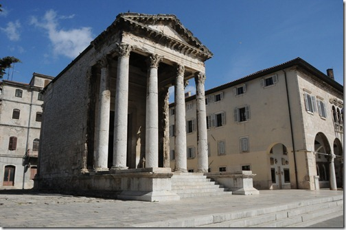 Temple of Augustus in Pula, a Roman religious temple, one of the few remaining in the world - In Pula, Istria, Croatia