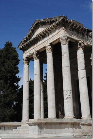 Front of the Inside the Temple of Augustus in Pula, Istria, Croatia