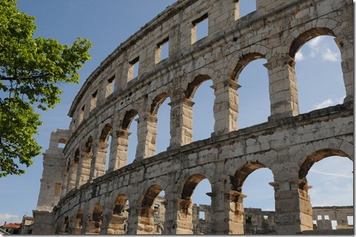 Pula Arena, as viewed from the outside - ancient Roman amphitheater in Istria, Croatia