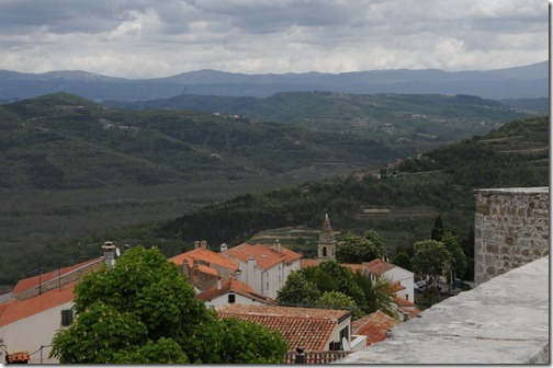 View of the Istrian countryside from the walls of the fortress in Motovun, Croatia
