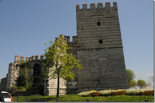 "The Marble Tower (Mermer Kule,) also known as the ""Tower of Basil and Constantine"" (Pyrgos Basileiou kai Kōnstantinou) of the Byzantine Walls in Istanbul, Turkey"