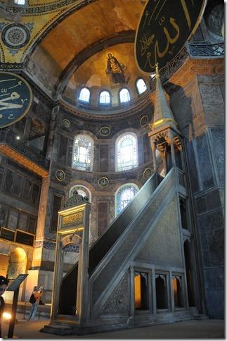 Minbar inside Hagia Sophia (Ayasofya Mosque) in Istanbul, Turkey