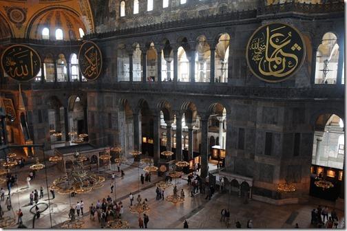 Inside Hagia Sophia (Ayasofya Mosque) in Istanbul, Turkey