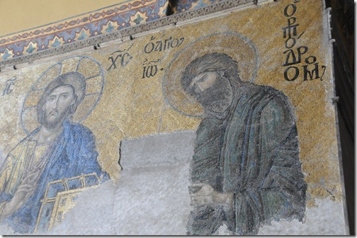 Mosaics on the wall of Inside Hagia Sophia (Ayasofya Mosque) in Istanbul, Turkey