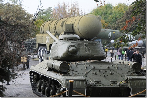 Military equipment at the 'Museum of the Great Patriotic War' in Kiev, Ukraine.