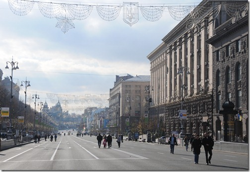Kreshatyk (Крещатик) Boulevard in Kiev, Ukraine on a day it was closed to road traffic.