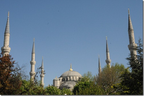 View of the six minarets of the Sultan Ahmed (Blue) Mosque (Sultanahmet Camii) in Istanbul, Turkey