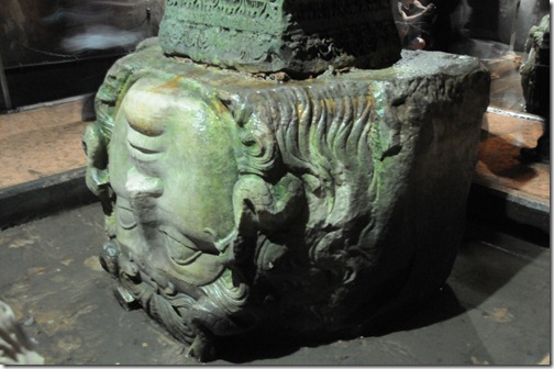 Upside down head of Medusa in the ancient Roman Basilica Cistern (Yerebatan Sarayı) in Istanbul, Turkey