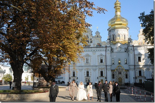 Wedding party at the Kiev Pechersk Lavra (Києво-Печерська лавра), or the Monastery of the Caves, in Kiev, Ukraine