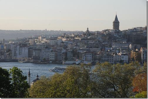 View of the Galata Tower in the Galata neighborhood (modern day Karaköy / Beyoğlu) in Istanbul, Turkey