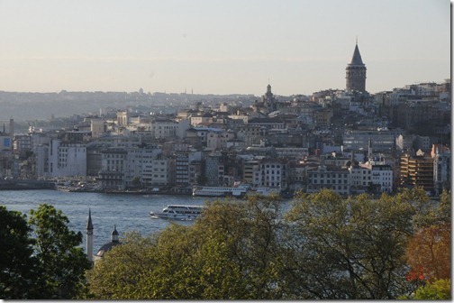View of the Galata Tower in the Galata neighborhood (modern day Karaköy / Beyoğlu) in Istanbul, Turkey