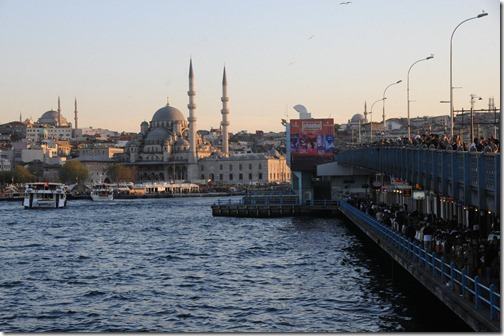 The Galata Bridge over the Golden Horn in Istanbul, Turkey