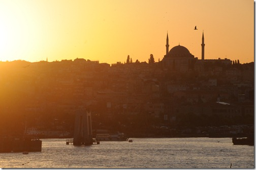 Sunset over the Golden Horn in Istanbul, Turkey