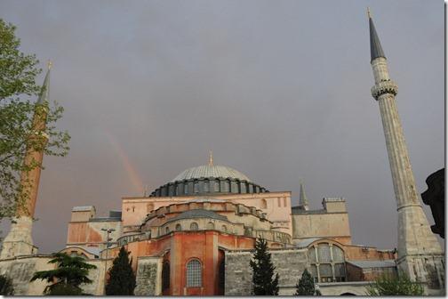 Rainbow over Hagia Sophia (Ayasofya Mosque) in Istanbul, Turkey