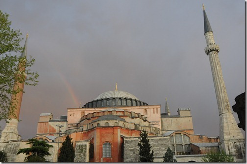 Rainbow over Hagia Sophia (Ayasofya Mosque) in Istanbul, Turkey