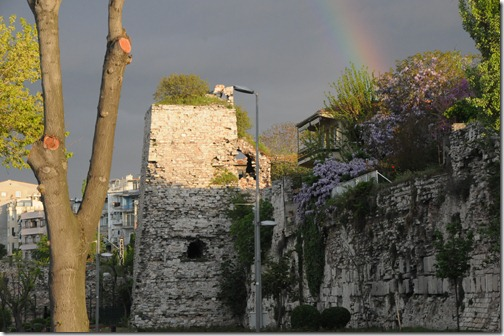 Ruined portion of the Byzantine walls in Istanbul, Turkey