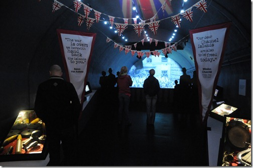 Museum display depicting Liberation Day inside the Jersey War Tunnels (Hohlgangsanlage 8) in Jersey, Channel Islands
