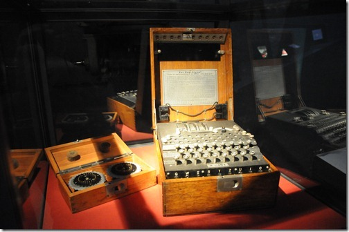 Original WWII Nazi 'Enigma Machine' inside the Jersey War Tunnels in Jersey, Channel Islands