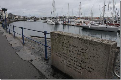 Stone marking the slipway in St. Peter Port where British Liberating Forces landed on Liberation Day (9 May, 1945) in Guernsey, Channel Islands