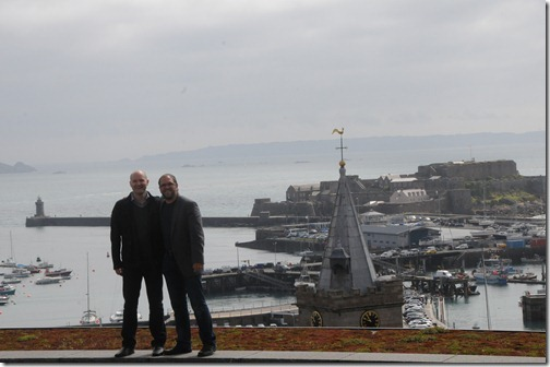 Gus and I above the harbor of St. Peter Port in Guernsey, Channel Islands