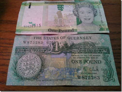 Jersey and Guernsey one pound (£1) banknotes