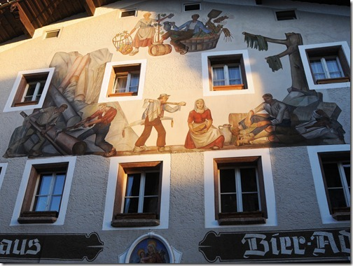 Lüftlmalerei (Bavarian Frescoes) on the walls of the Gasthaus Bier Adam in Berchtesgaden, Germany
