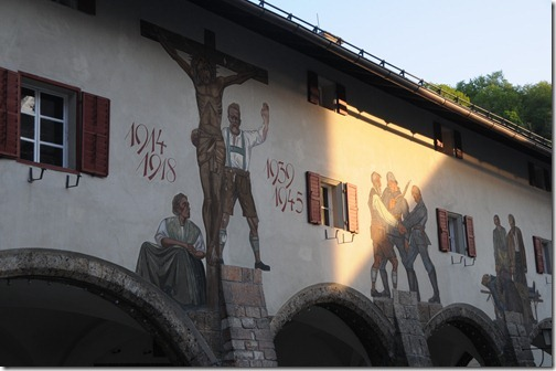 Lüftlmalerei displaying WWI and WWII war memorials on the walls of buildings in the courtyard of the Royal Palace (Königliches Schloss Berchtesgaden) in Berchtesgaden, Germany
