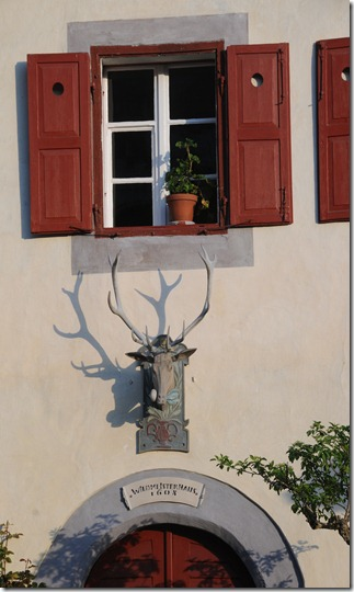 Bavarian deer head ornamentation on a Bavarian-style house in Berchtesgaden, Germany