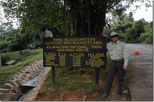 Sign near Marangu Gate showing distances to the various camps on the Marangu Route, Mount Kilimanjaro, Tanzania