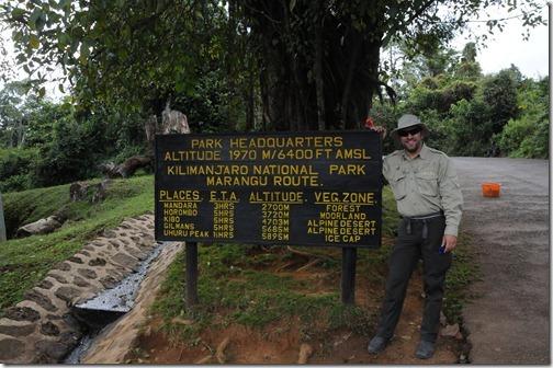Sign near Marangu Gate showing distances to the various camps on the Marangu Route, Mount Kilimanjaro, Tanzania