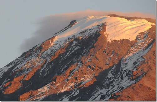 Close-up of Kibo Peak during Sunrise on Mount Kilimanjaro, Tanzania