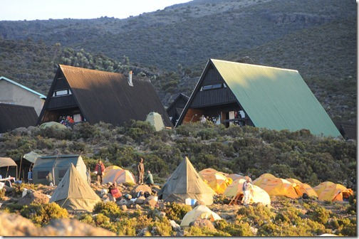 Tents and huts at Horombo Huts, Mount Kilimanjaro