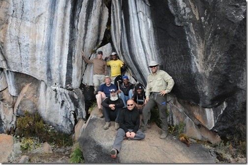 The team at the Zebra Rocks on Mount Kilimanjaro, Tanzania