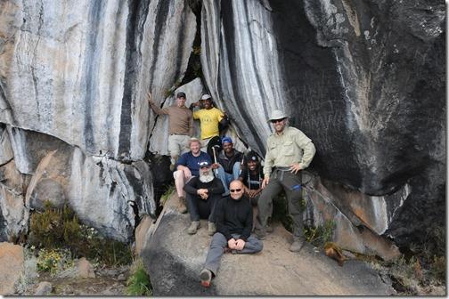 The team at the Zebra Rocks on Mount Kilimanjaro, Tanzania
