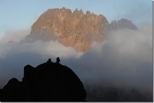 Sunset at Kibo Hut with Mawenzi Peak in the background - Mount Kilimanjaro, Tanzania