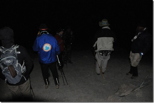 Night shot of the STP Africa Team climbing up to Gilman's Point on the Marangu Route, Mount Kilimanjaro