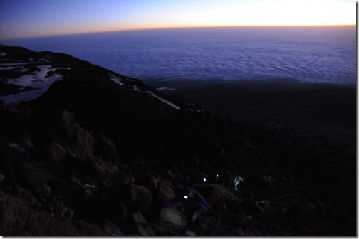Approaching Gilman's Point at Sunrise on the Marangu Route, Mount Kilimanjaro