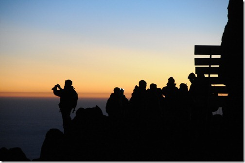 Hikers at Sunrise at Gilman's Point, Marangu Route, Mount Kilimanjaro