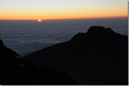 Sunrise above the clouds near Gilman's Point, Marangu Route, Mount Kilimanjaro, Tanzania