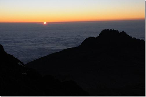 Sunrise above the clouds near Gilman's Point, Marangu Route, Mount Kilimanjaro, Tanzania