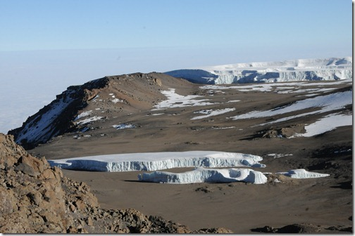 The remaining portion of the melting Furtwängler Glacier on top of Kibo Peak on Mt. Kilimanjaro, as it appeared in September, 2012